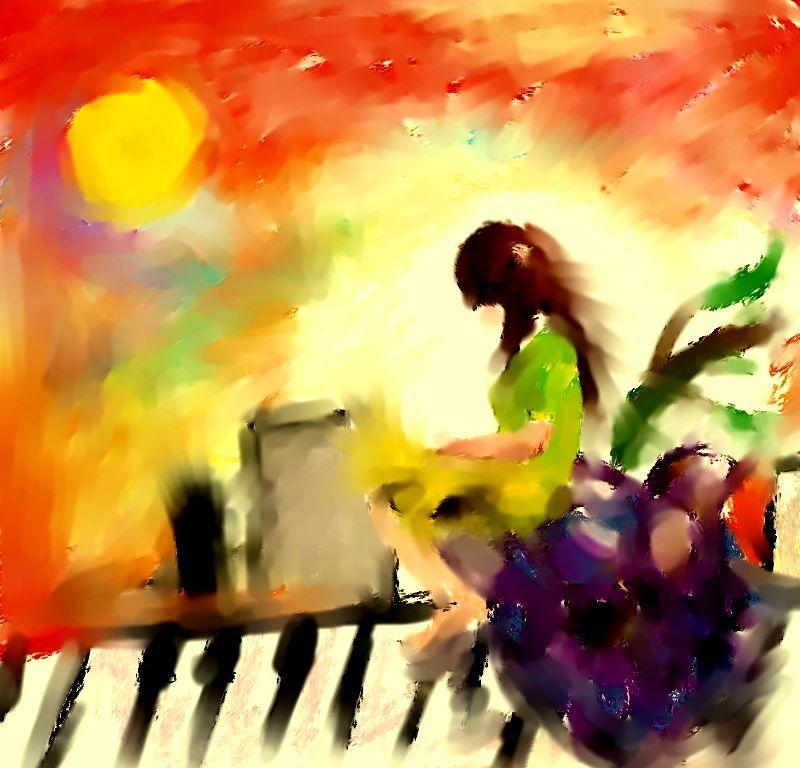 Digitální malba malé hnědovlásky, která sedí na velkém hroznovém vínu, za ní je město a rudý západ slunce.