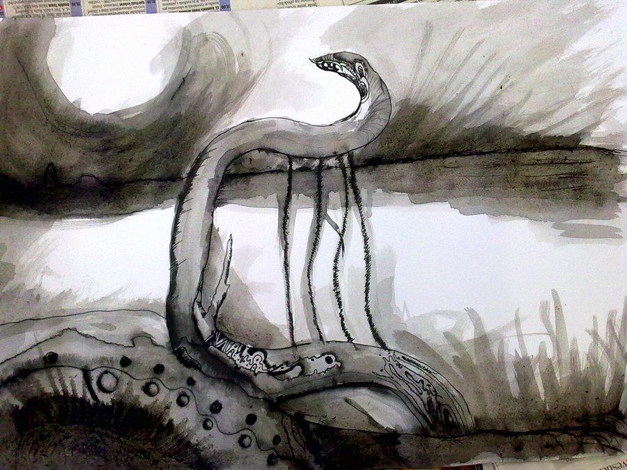 Černobílá kresba harfy na břehu rybníka.