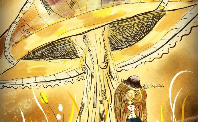 Digitální kresba hnědovlasé dívky, která stojí pod obrovskou houbou. Celý obrázek je laděn do oranžovohnědé barvy.
