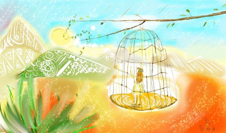 Digitální malba v pastelových barvách, uprostřed visí na jemné větvičce klec, v které stojí zrzavá holka.