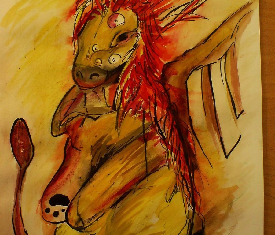 Akvarelová malba podobná malbám ve středověkých bestiářích - zvláštní zvíře se širokou hlavou, netopýřími křídly a těžkým tělem, provedené v tmavě žluté a červené barvě.