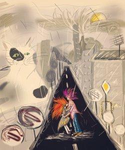 Digitální kresba dvou lidí, kteří se objímají v dešti uprostřed silnice. Dívka má zrzavé vlasy, vysoký chlapec má fialové vlasy. V dáli je černobílá kočka a město.