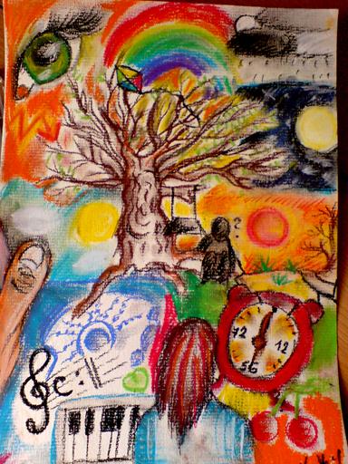 Komplexní kresba suchým pastelem, na které je zobrazeno mnoho různých předmětů v naivním, dětském stylu. Najdeme zde ruku, budík, strom, klávesy, oko, vyobrazení měsíce.