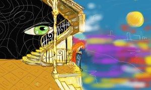 Digitální malba, kde stojí zrzavá holka u zábradlí, které je secesní a za ním vede secesní schodiště. Za schodištěm vidíme velké zelené oko zírající ze tmy. Zrzavá holka se kouká na moře, které jde vidět v druhé půlce obrazu.