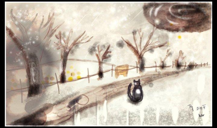 Kresba zimní krajiny - uprostřed se nachází hnědá zasněžená cesta mezi bílými kopci a alejemi stromů bez listí, u cesty sedí zády k nám černá kočka.