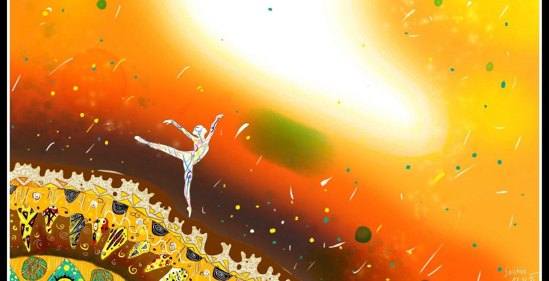 Veselá bílá figura tančí na detailně namalovaném kopci, za ní je červené nebe se spoustou barevných konfet.