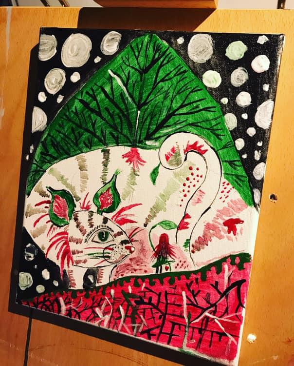 Na obrázku je malá holka na červené hoře. Za ní je obrovké velké bílé zvíře s barevnými pruhy a za ním velký zelený list.