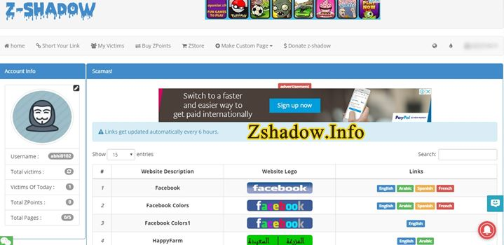 Z Shadow Hack Links for Facebook
