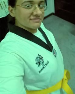 Zainab in Taekwondo uniform