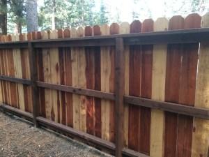 Redwood fence framing