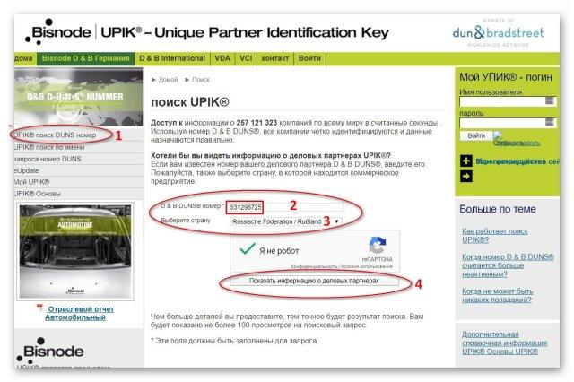 UPIK-Поиск по номеру DUNS | Блог З.С.В. Свобода слова