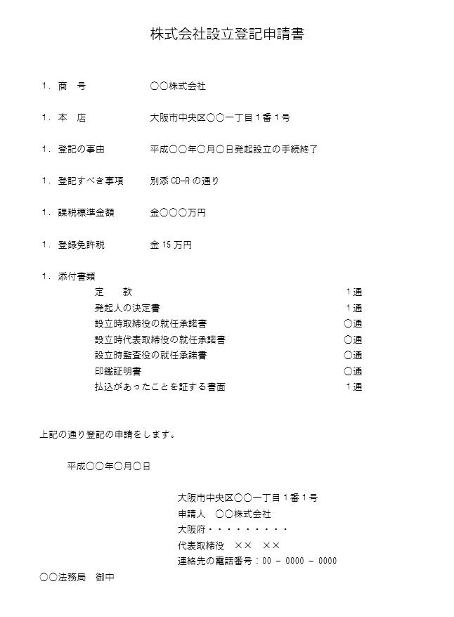 登記申請書の記載例