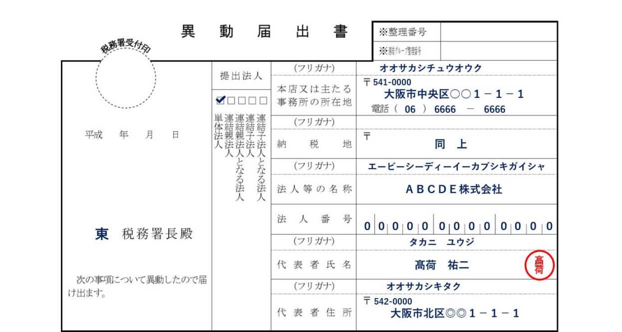 税務署の異動届出書の書き方①