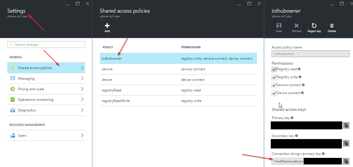 Azure IoT hub connection string