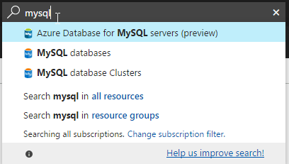 Azure MySQL as a Service Preview Search