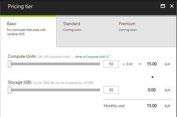 Azure MySQL as a Service Preview Pricing