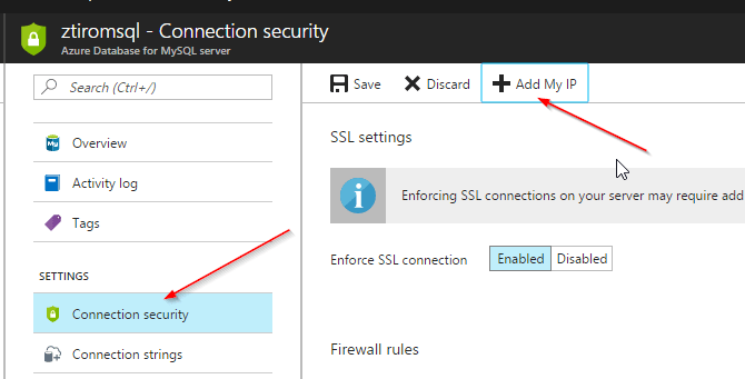 Azure MySQL as a Service Preview Security