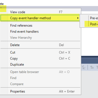 AX7 Extension Validate Field Copy Handler