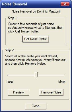 Opções para remoção de ruído no Audacity
