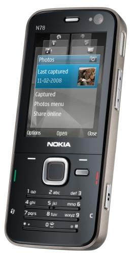 N78: GPS, MP3 com transmissor FM, 3,2 megapixels
