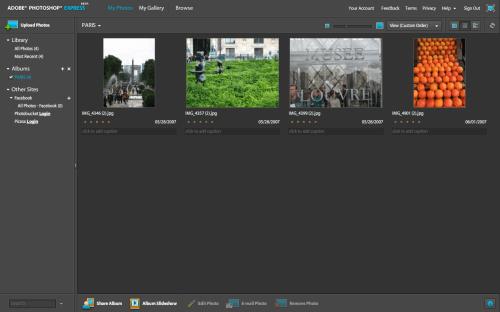 Interface principal do Photoshop Express