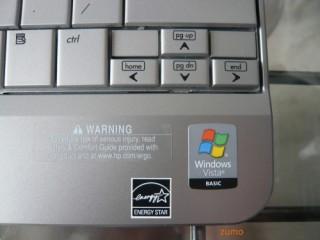 Detalhe do teclado com selinho do Vista