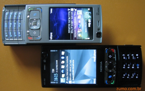 N95 original (acima) e N95 8 GB (abaixo)