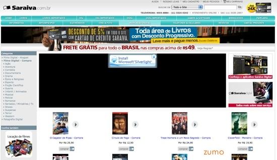 compra de filmes na Saraiva Digital