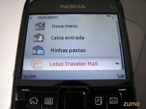 Lotus Traveler Mail: caixa de entrada integrada às demais do E71