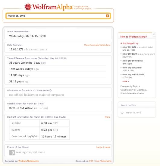 tudo que o Wolfram sabe sobre 15 de março de 1978