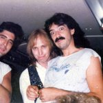 """With Tom Petty & Lee Thornburg en route to """"Live Aid"""" July 1985"""