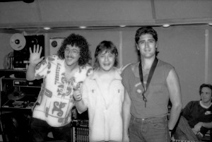 Weird Al, Rick Derringer and Jimmy Z enjoying the sweet bird of youth in Scotti Bros. in-house studio, Santa Monica Sound Recorders, studio A
