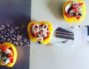Zutaten Gesunde Paprika Pizza mit Thunfisch Zwiebeln oder Champignon