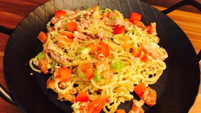 Rustikale Spaghetti Pfanne aus Resten