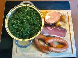 Zutaten Grünkohl mit Kassler und Kohlwurst