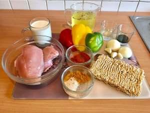 Thai Curry Hähnchen Geschnetzeltes auf Mie Nudeln Zutaten