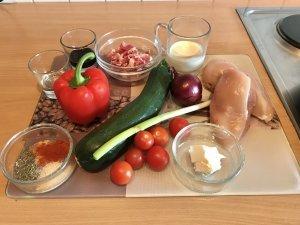 Balsamico Hähnchenbrust auf Gemüse und Ziegenkäse Soße Zutaten