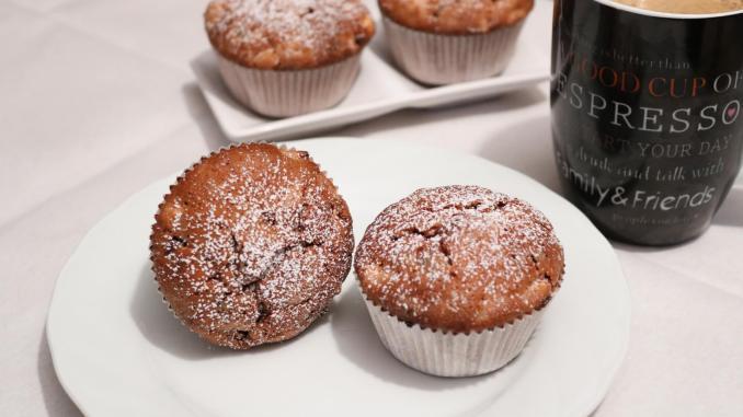 Apfel Nutella Muffins mit Schokoladen Raspeln einfach backen