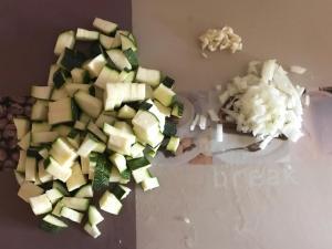 Vorbereitung Zucchini Gorgonzola Suppe