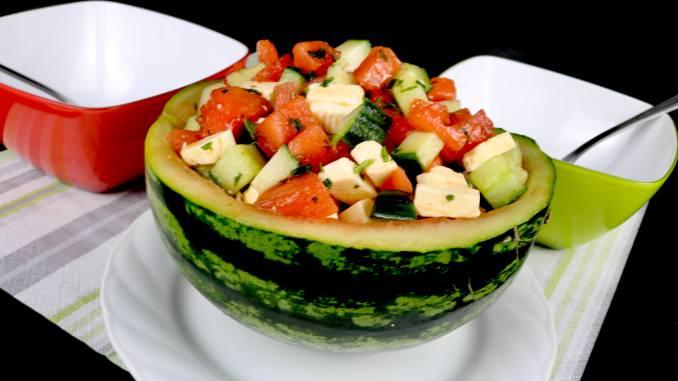 Sommer Salat Melonen Salat mit Honig Dressing