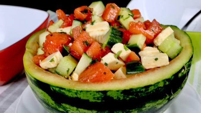 Melonen Salat mit Gurke und Feta Käse