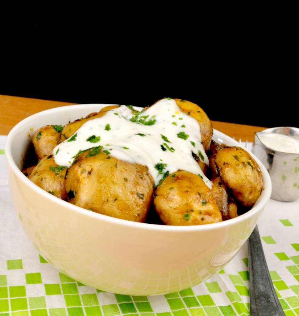 Serviervorschlag Champignons mit schneller Knoblauch Sauce