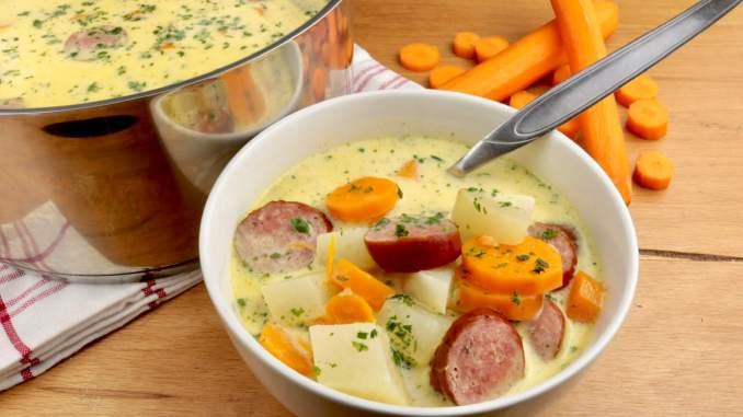 Kohlrabi Karotten Eintopf mit Cabanossi