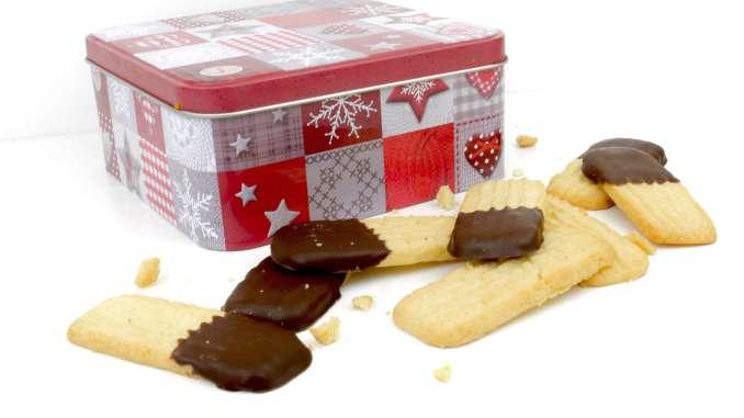 Butterspritzgebäck mit Schokolade