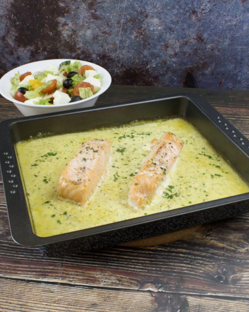 Serviervorschlag Lachsfilet aus dem Ofen