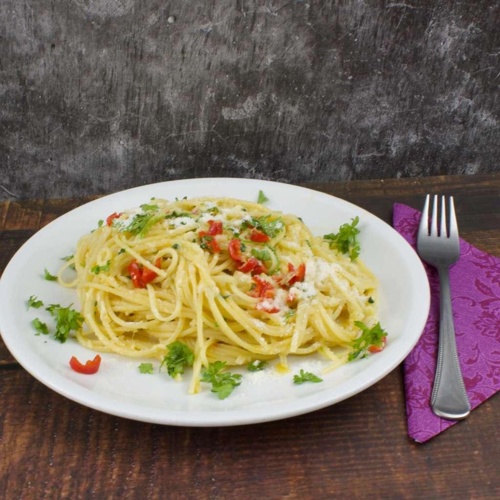 Serviervorschlag Spaghetti Aglio Olio e Peperoncini