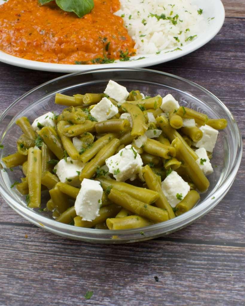 Serviervorschlag Bohnensalat mit Feta Käse