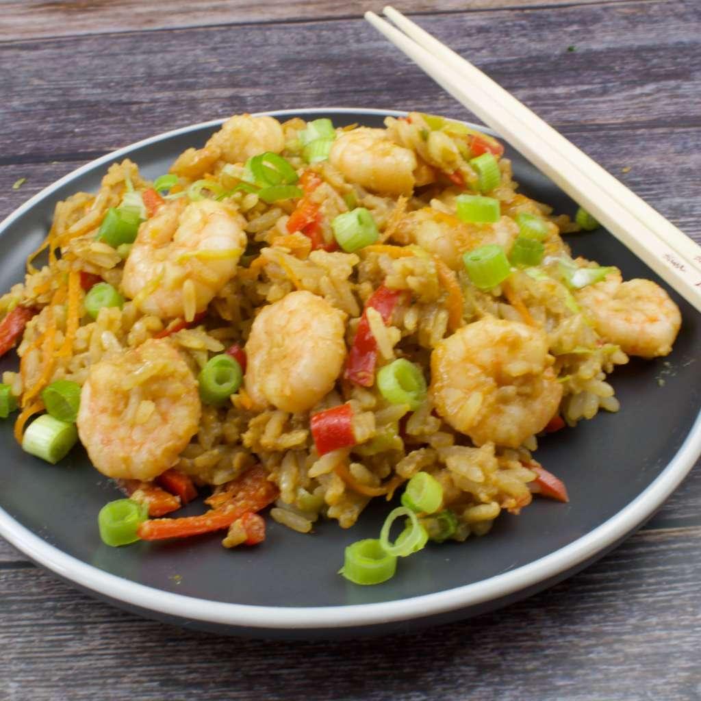Resteessen Reis mit Garnelen