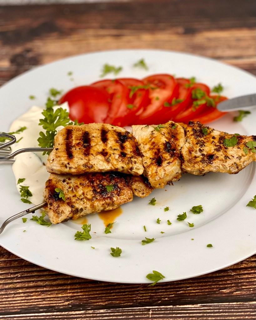 Zubereitung Souvlaki Fleischspieße