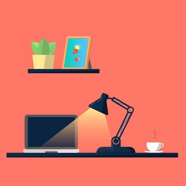 Desk Laptop Desk Lamp Workspace - meesgroothuis / Pixabay